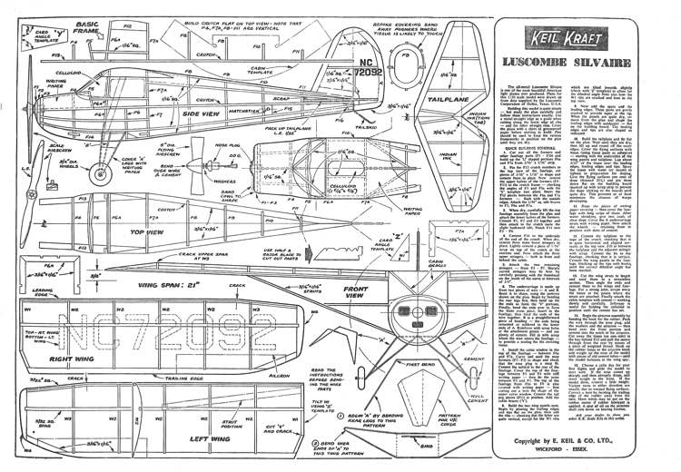 KK Luscombe Silvaire model airplane plan